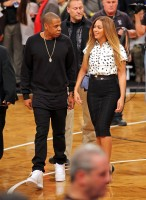 Jayonce на баскетбольной игре «Brooklyn Nets vs Cleveland Cavaliers» в «Barclay's Center».