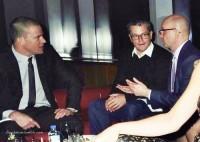 """Ченнинг на премьере фильма """"Побочные эффекты"""" со Стивеном Содербергом и Мэтом Дэймоном."""