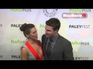 Katie Cassidy 'Laurel Lance' arrives and Interviewed at Arrow Panel PaleyFest 2013